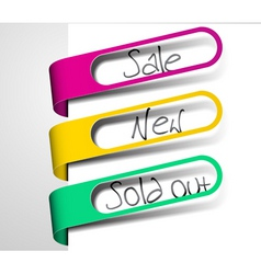 paper tags for items in sale sold out and new vector image