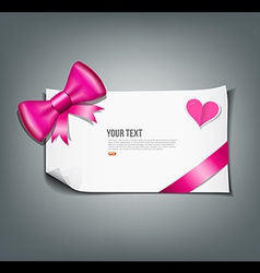 Pink ribbon and white paper design background vector image