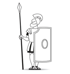 Ancient warrior pikeman with shield BW vector image