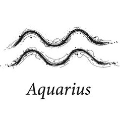 Aquarius astrology sign hand drawn horoscope vector