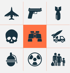 army icons set with gun refugee skull and other vector image