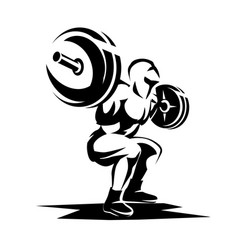 Athlete with barbell silhouette weight lifting vector