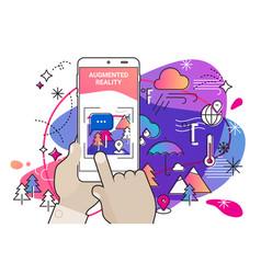 Augmented reality amoeba style mobile app concept vector