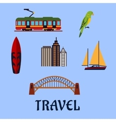 Australian travel and journey flat symbols vector image