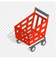 basket on wheels for shopping isometric icon vector image