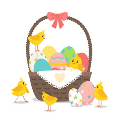 Basket with cute chickens vector