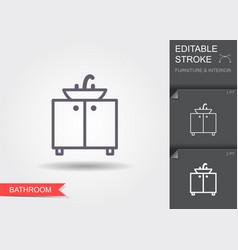 bathroom sink line icon with editable stroke vector image