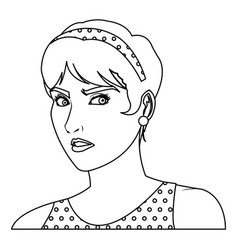 beautiful woman in the comics style vector image