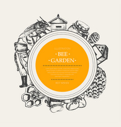 bee garden - modern drawn round banner template vector image