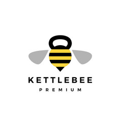 bee gym kettlebell fitness logo icon vector image