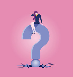 big problem - businesswomen sits on the question vector image