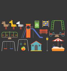 Big set playground equipment vector