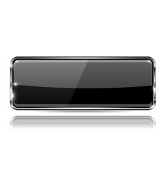 Black glass 3d button with metal frame rectangle vector
