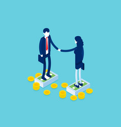 business partnership handshake agreement concept vector image