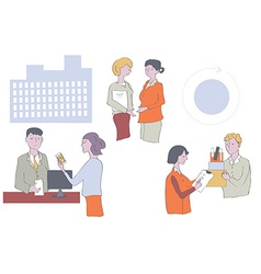 Business people at the office - work in groups vector image