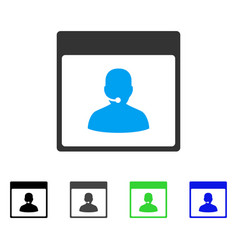 Call center manager calendar page flat icon vector