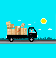 car with packages delivery service cartoon flat vector image