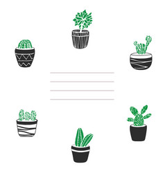 Card and cover with cute hand drawn cacti in pots vector