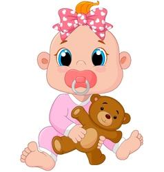 Cartoon cute baby vector image