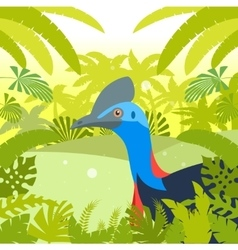 cassowary on jungle background vector image