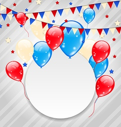 Celebration card with balloons in american flag vector image