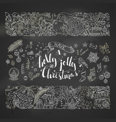 Chalk merry christmas decorations and design vector