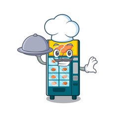 Chef with food bakery vending machine in a mascot vector