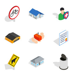 Civic icons set isometric style vector