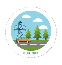 Clean energy car road electric tower landscape vector