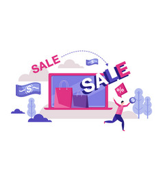 clearance sale man hurry in store vector image