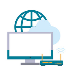 computer with router and globe vector image