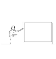 Continuous one line woman points to screen vector