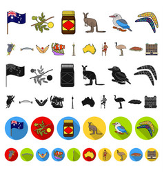 country australia cartoon icons in set collection vector image