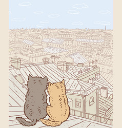 Couple of city cats sit on the rooftop vector