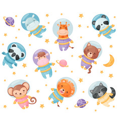 Cute cartoon animals astronauts vector