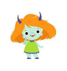 Cute horned troll girl adorable smiling fantasy vector