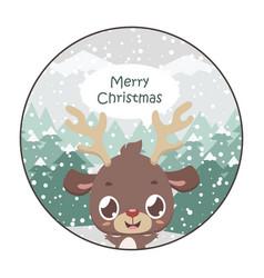 Cute reindeer christmas greeting vector