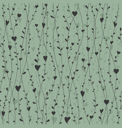 cute seamless pattern with hearts branches vector image