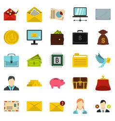Deposit icons set cartoon style vector
