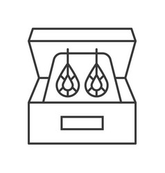 diamond earring in box jewelry related outline vector image