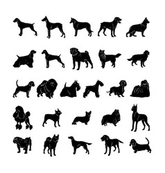 Dog silhouette collection set vector