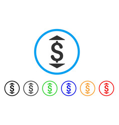 dollar up down rounded icon vector image
