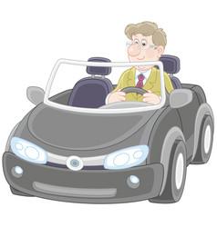 driver in a black cabriolet vector image