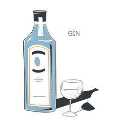 dry gin in bottle with label glass with drink vector image