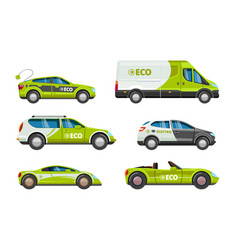 eco cars alternative power energy electrical vector image