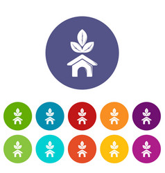 eco house icons set color vector image