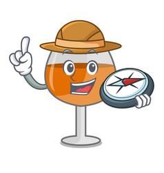 explorer cognac ballon glass mascot cartoon vector image