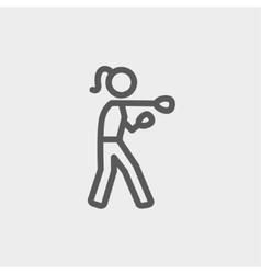 Female Boxer thin line icon vector
