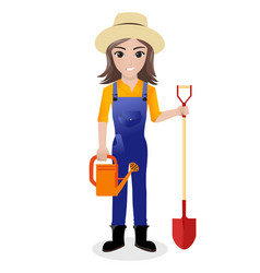 Female gardener holding watering can and shovel vector