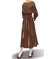 Female model dressed in brown dress high heels vector
